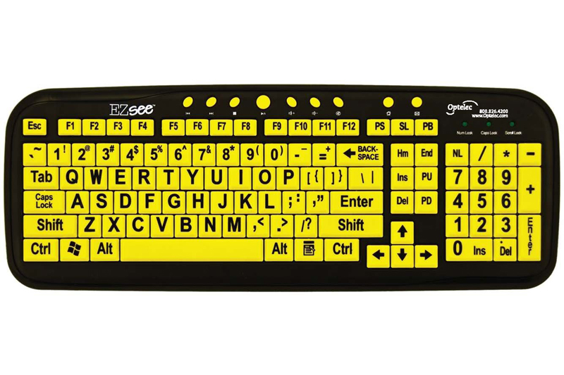 NO LONGER AVAILABLE - Optelec Large Print Keyboard, Black on Yellow